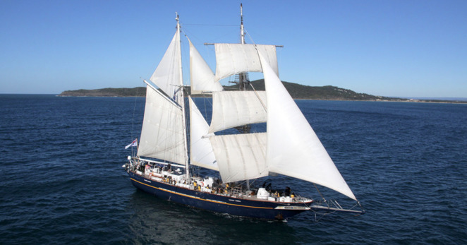 Young Endeavour Sailing Ship in full sail