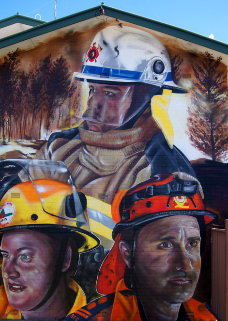 While this mural depicts 3 local heroes, but it pays tribute to the spirit of working together during adversity for the whole town and region