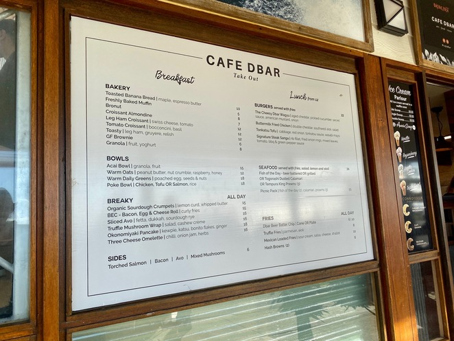 Cafe D'Bar has a diverse menu that ranges from breakfast and bakery options to substantial meals