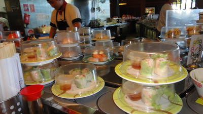 Conveyor Belt with Plated Sushi