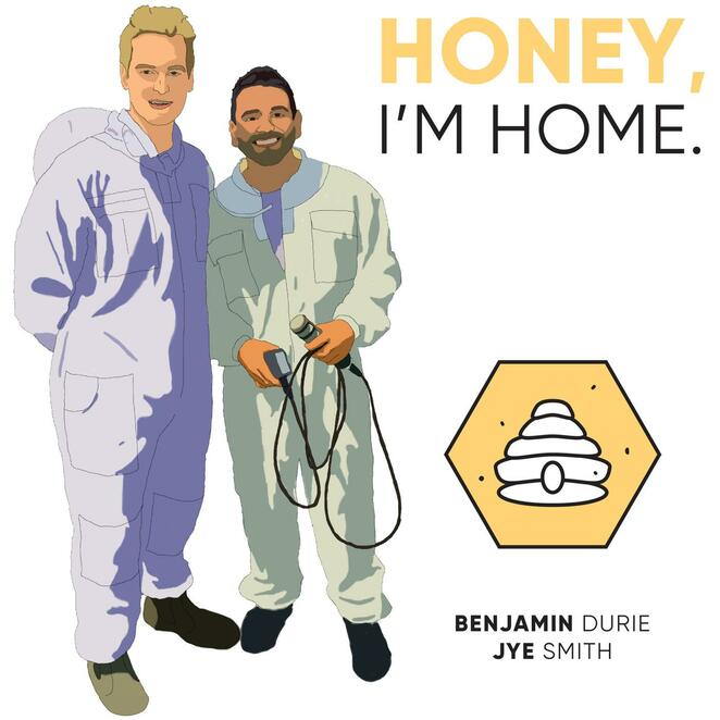honey i'm home 2020, australia's beekeeping podcast, community event, information about bees, bee keeping, making honey, learn about bees, benjamin durie, jye smith, queen bees, public talk, public lecture, native australian bees, the birds and the bees, all the bees, different type of bees, education, public interest, bee keeping hobby, making honey, honeycombs, honey products, humbe hive collective, beeswax products, hive hosting, fresh honey, fancy pants rob, rob peters, jen heaton graphic designer, listen notes