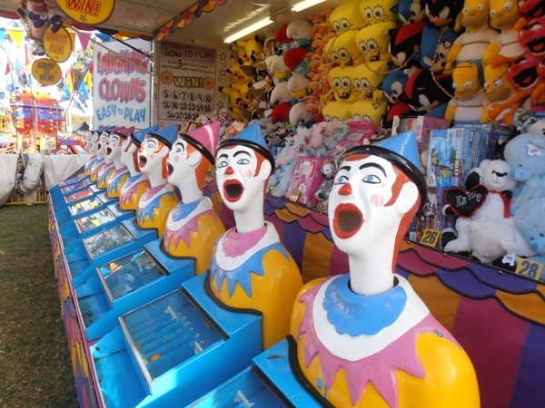 Laughing clowns are always a sideshow alley favourite