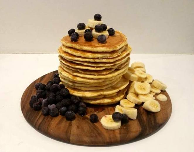 pancakes, blueberry, banana, maple syrup
