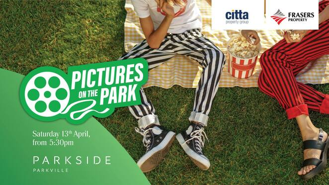 pictures on the park 2019, community event, fun things to do, parkside parkville, open air cinema, movie buffs, free movie night, vote for a movie, vip gold grass, entertainment, date night, nightlife