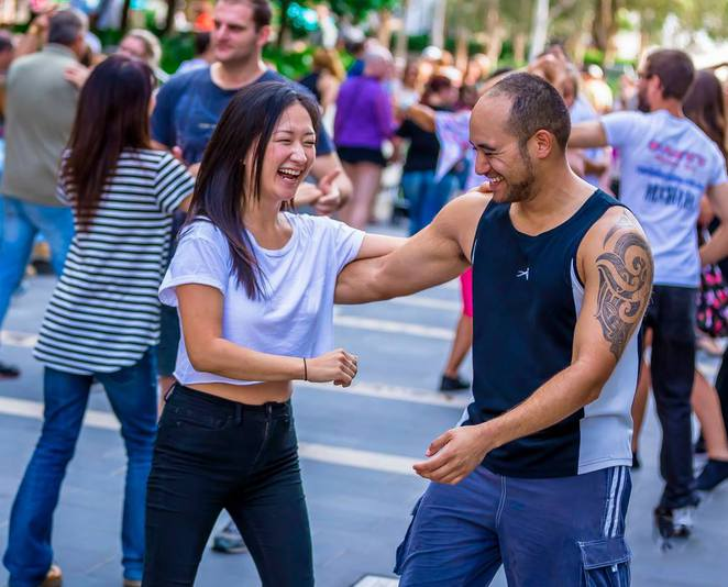 Salsa dancing at Bastille Festival