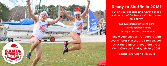 speedo shuffle, 2018, cystic fibrosis, ACT, canberra, charity fun run, christmas in july, events, fun runs, lake burley griffin,