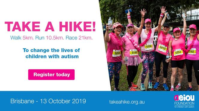 take a hike brisbane 2019, community event, fun things to do, charity, fundraiser for autism, take a hike for children with autism, aeiou foundation for children with autism, kurilpa point park, walk run or race, entertainment, activities, sports, health and wellness