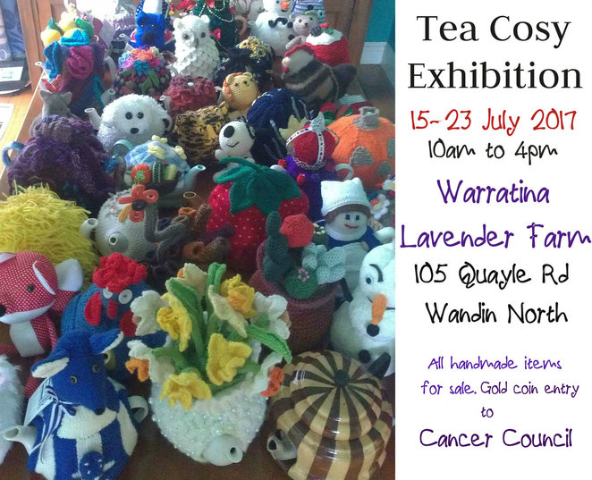 tea cosy exhibition, tea cosy competition, handmade, tea cosies, beanies, soft toys, craft, knitted items, hanadmade items, market stalls, shopping, fundraiser, charity, cancer council victoria, warratina lavender farm, wandin north, fun things to do, fundraiser, community event