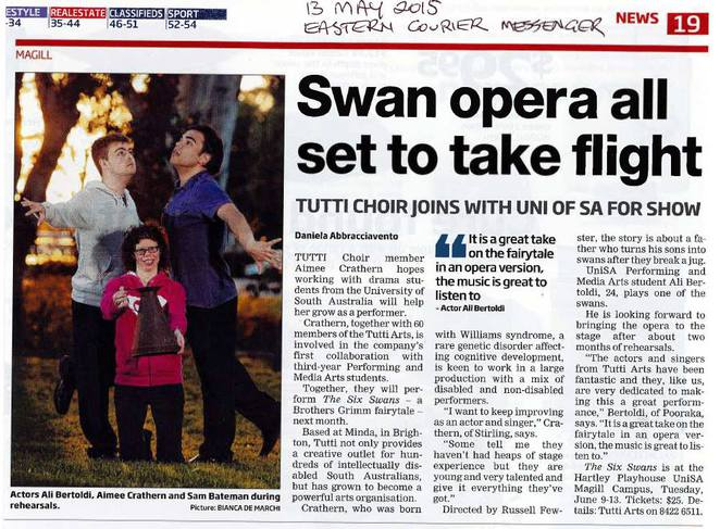 Six Swans the Opera – article from Eastern Messenger - Tutti Arts Facebook page