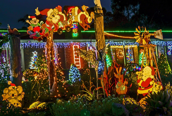 Christmas, Lane, Lights, Display, 2018, Lobethal, Australiana