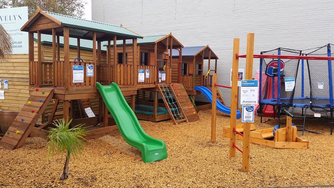 Cubby huts and play equipment for the kid's adventures.