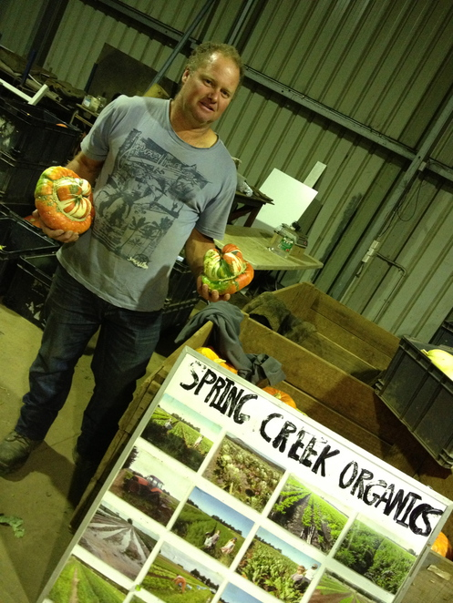 David Tatman, Australian Certified Organics, Spring Creek Organic Farm, spaghetti squash, pumpkins, organic vegetables, buy local vegetables, heirloom vegetables, Spring Creek Organic Farm Market Times,