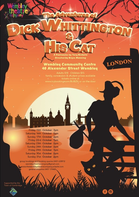 Dick Whittington and His Cat, pantomime, Wembley Theatre Company, performing arts, Wembley Community Centre, kids, children, family, stage