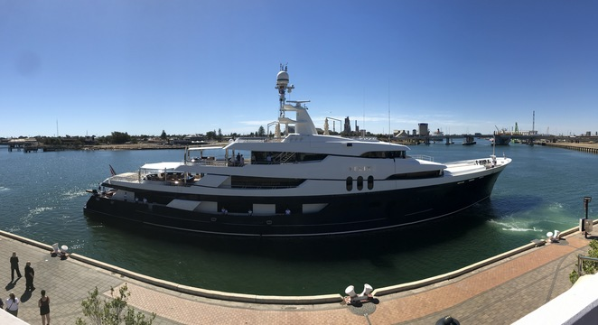 Felix Super Yacht coming into moor at Port Adelaide