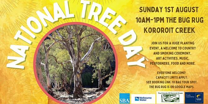 friends of kororoit creek national tree day celebration, community event, fun things to do, the bug rug, planting event, volunteers for tree planting, welcome to country, smoking ceremony, art activities, music, performancds, food and drink, kids entertainment, bbq