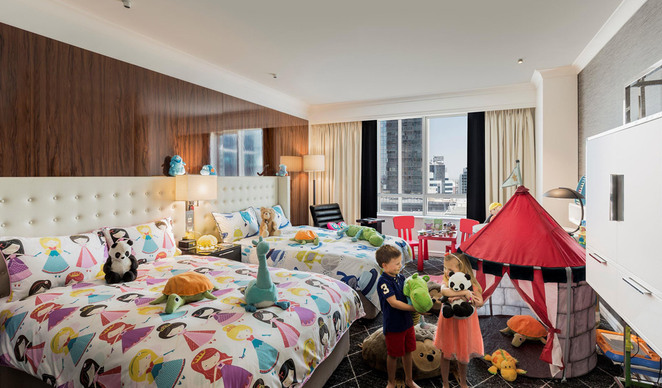 kids room, swissotel, family, kids, hotels, sydney, state theatre, best hotels for families, sydney cbd, twin beds, toys, kids, childrens rooms, shows, near darling harbourm near QVB, near State Theatre, near Westfield Sydney, NSW,