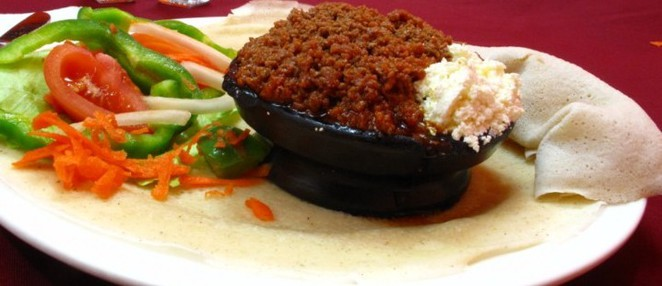 Kitfo is a common Ethiopian dish made from minced beef
