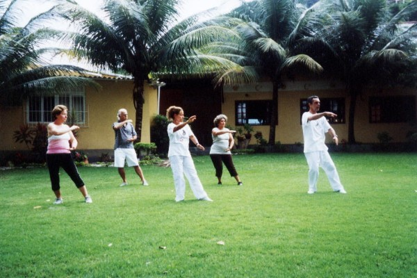 Tai chi, relaxation on the park, exercise for seniors, outdoor relaxation, slow exercise, Asian exercise and sports,
