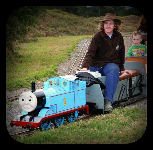 Thomas under fairy lights train shed
