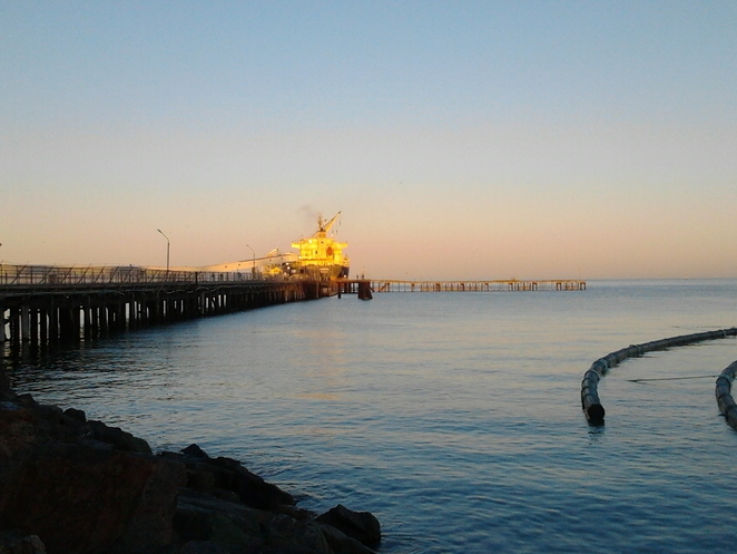 Wallaroo, jetty, sunrise, bay, sea, water