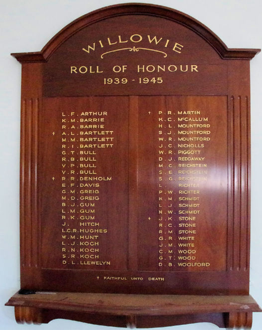 WW2, Honour Roll, Willowie Hall