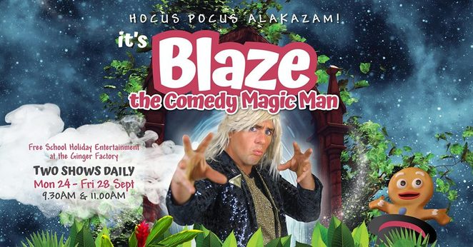 Blaze The Comedy Magic Man, FREE Event, September school holidays, The Ginger Factory, two shows a day, magical illusions, magic tricks, laughter, fun, excitement, walks, Giant Checkers, Moreton the train, Overboard boat ride, Giant Snakes 'n Ladders, Live Bee Show Tour, Ginger Cafe, Ginger Ice Creamery