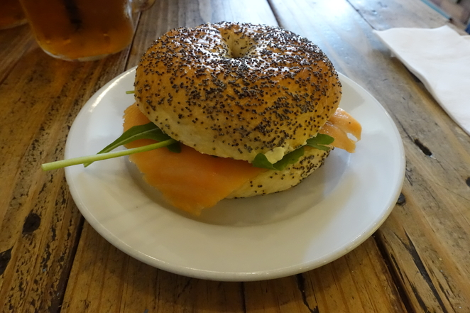 Cream cheese and salmon bagel