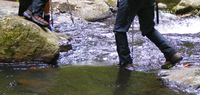 Getting wet feet on one of the creek crossings