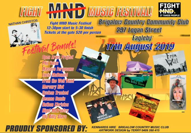 fight mnd music festival 2019, community event, fun things to do, live bands, brigalow country community club, fundraiser, charity, motor neurone disease, family fun, food, rock n roll
