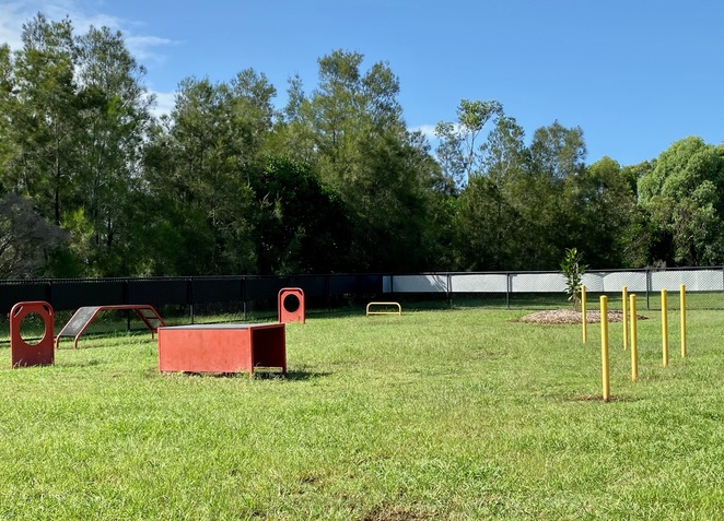 There is a range of agility equipment here, providing an opportunity for dogs and their humans to interact and bond