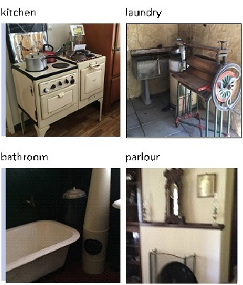 old furniture, washing area, sewing machines, bathroom, heritage site, history