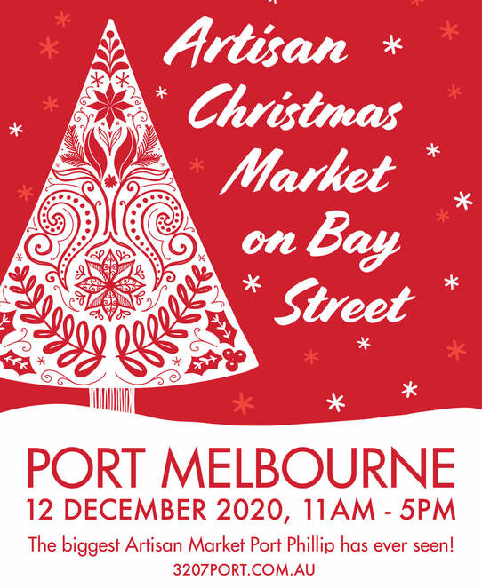 port melbourne artisan christmas market 2020, community event, fun things to do, family fun, christmas shopping, outdoor market, local artisans, designers, crafters, holiday season, activities, entertainment, fashion, jewellery, perfume, food and drink, upcycled, recycled, clothing, art, ceramics, pottery