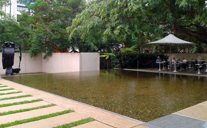 The garden and water feature at the Queensland Art Gallery Cafe