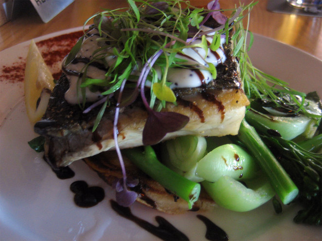 Grilled fish on Asian vegetables and chickpea patties