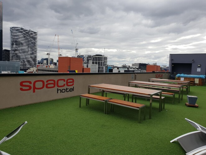 space hotel rooftop deck
