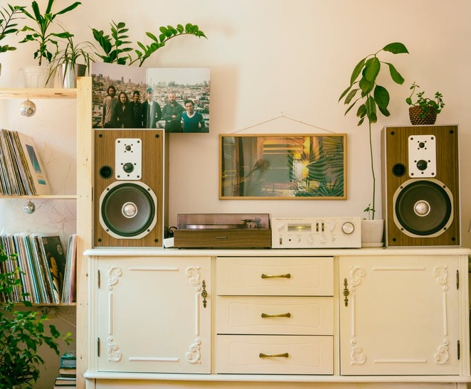 stereo, record player, music centre