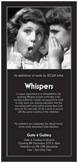 whispers, art exhibition, gate 6 gallery, berwick, art experiment, unique art exhibition, artist, painting, drawing, grand unveiling, secrecy, secan, south eastern contemporary art network, fun things to do, art lovers, community event