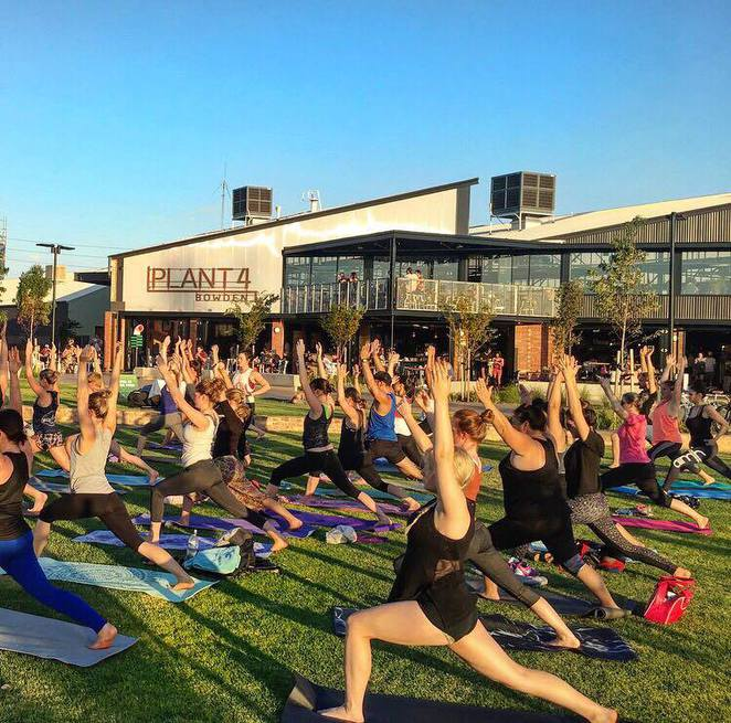 yoga in the park, free yoga, yoga adelaide, yoga session bowden, free yoga, renewal sa, plant 4 bowden, things to do on a wednesday night in adelaide, wednesday events adelaide, march free events adelaide