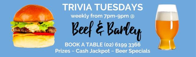 beef and barley, trivia nights, canberra, kingston foreshore, ACT, whats on, burgers, beers, gastropubs, winter, events,