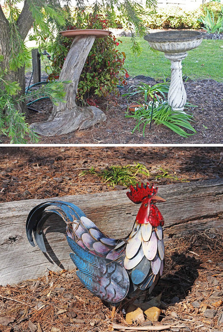 Bird baths and tin rooster.