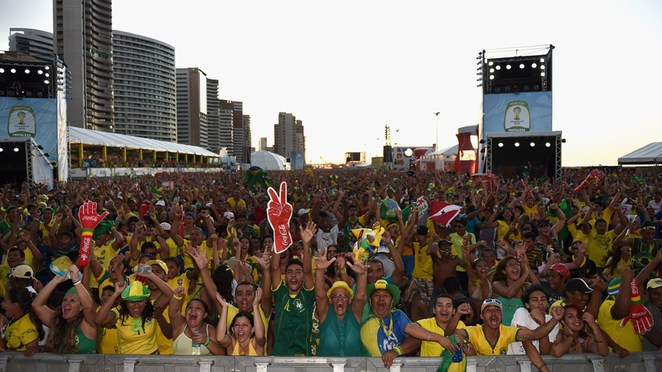 brazil fans celebrate fifa world cup