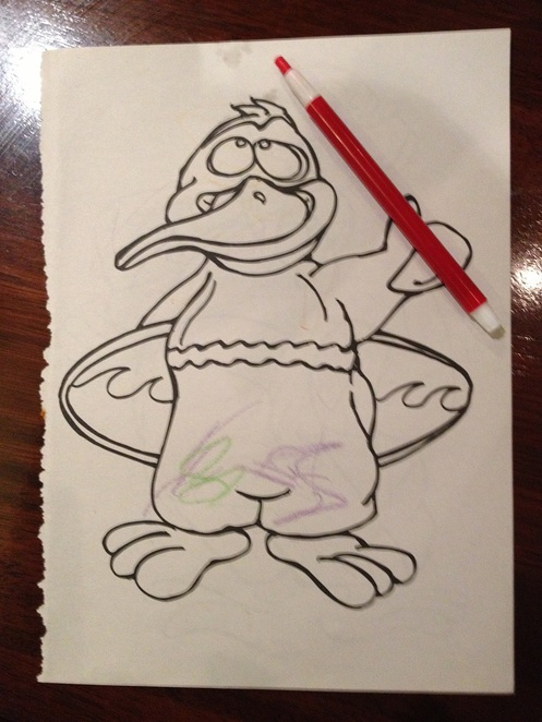 colouring in keeps the children occupied while dinner is on its way