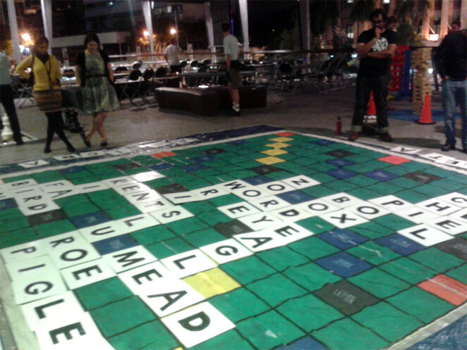 Playing giant scrabble