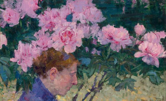 john russel, peonies,and the head of a woman