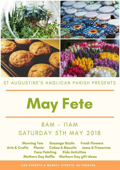 may fete 2018, st augustines anglican parish, st augustines anglican church, church fete, community event, fun things to do, family fun, bayswater, kids activities, market stalls, entertainment, mothers day gift ideas, plant sale, home made cakes and slices
