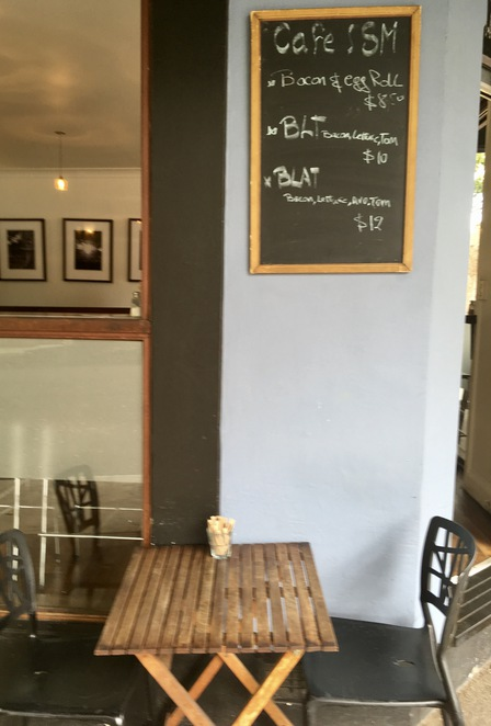 Outdoor seating, cafe ism, Newtown, specials blackboard, brunch, people watching, bacon, poached egg, smashed avocado
