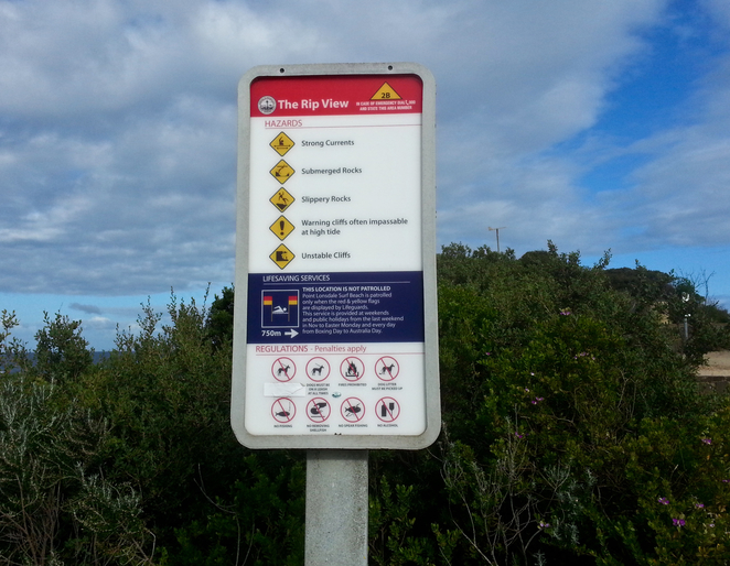 Rip view Lookout, Point Lonsdale, Bellarine, Victoria, view, tourist spot, sign,