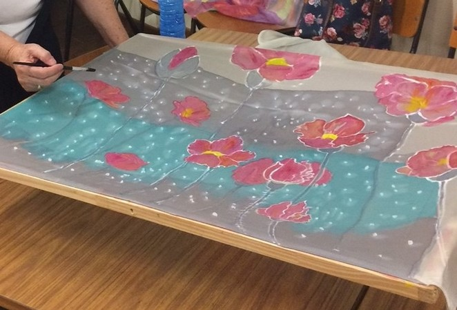 Students are taught how to use wet on wet techniques, resist and batik to achieve wonderful effects