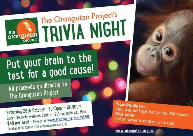 the orangutan project trivia night, the queen victoria women's centre, community event, fun things to do, fundraiser, charity, save the animals, safe the wildlife, prizes up for grabs, silent auction, animal protection and rehabilitation, vegan friendly cocktail food, beer, wine, night out, night life, entertainment, brain teaser
