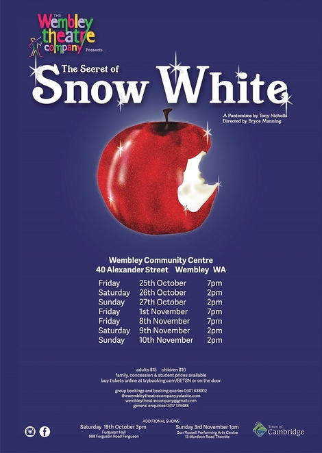 The Secret of Snow White, Wembley Theatre Company, pantomime, performing arts, kids, family, children, tweens
